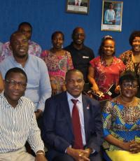 WHO's own participants at the FICSA training join WR Dr M Ovberedjo (seated centre) and ASA President Mrs B Fougue (on his left)