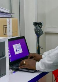 A GeneXpert diagnostic testing set-up in the INRB lab in Kinshasa. This diagnostic tool was adapted during the outbreak of Ebola in West Africa to rapidly test for the disease. Results are ready in one hour. Photo: WHO/A. Clements-Hunt