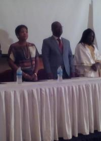 Dignitaries at the ceremony with Prof. JM Dangou in the middle flanked by the US Ambassador (l) and Hon. Minister for Health and Social Welfare (r)