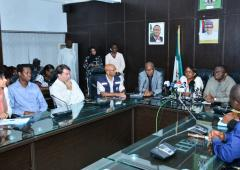 Dr Moeti in a Press Briefing at the Federal Ministry of Health