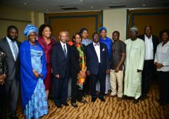 A group photo with Nigerian Hon MoH Prof. Isaac Folorunso Adewole