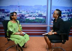 Dr Moeti at the Channels TV studios