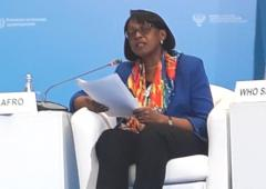 Dr Moeti delivering her speech at the WHO Global Ministerial Conference to End TB