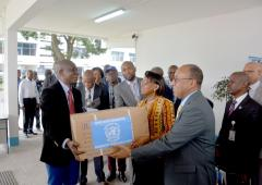 Official ceremony, medicines given to the sanitary authorities of DRC for cholera response in Kinshasa