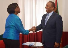 Dr Moeti with Prime Minister Patrice Trovoada