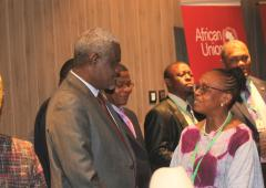 Chairman of the African Union Commission congratulating Dr Moeti