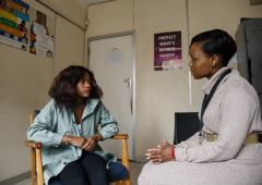 Tadiwa Murahwa, a 22 year old college student is receiving HIV counselling from Faith Zikhali, a nurse counsellor at the New Start Centre in Harare, Zimbabwe. Tadiwa found out about HIV self-testing after looking for information on the internet.