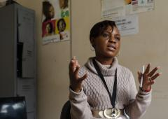 Nurse Faith Zikhali tells Tadiwa about the services offered and confirms that Tadiwa wants an HIV self-test.