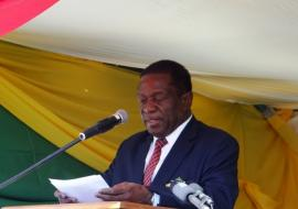 Honorable E.D. Mnangagwa, Vice President of the Republic of Zimbabwe and Minister of Justice, Legal and Parliamentary Affairs at the commemoration of World AIDS Day