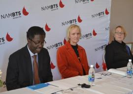 WHO Representative to Namibia, Dr Charles Sagoe-Moses (left), speaking at the event; alongside Dr Britta Lohrke from Ministry of Health and Social Services (middle)