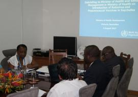 WHO Consultants discussing country's readiness to introduce the Rotavirus vaccine and PCV