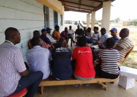 The WHO rapid response team training frontline health workers on malaria diagnosis and treatment. Photo WHO.