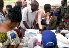 The mobile medical team reaching the vulnerable population in Movolo. Photo WHO.