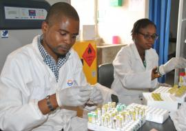 Health workers at the UTH Bacteriology laboratory