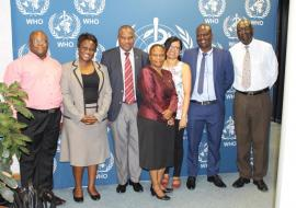 External Review Team with the WR, Dr Martins Ovberedjo and the NPO-Malaria, Ms Kentse Moakofhi