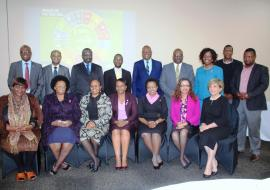 The consultants from AFRO posing for a group photo with the WHO Representative Dr Tigest Ketsela Mengestu, UNFPA Representative Ms Sharareh Armikhalili, Ministry of Health PS Dr Simon Zwane and other senior officers from the WCO and Ministry of Health during the high level meeting.