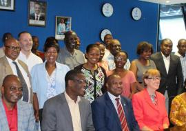 Participants at the FICSA training join the UN RC Ms J Barrins (seated in red jacket), WR Dr M Ovberedjo (seated to her right) and WHO ASA President Mrs B Fougue (on her left)