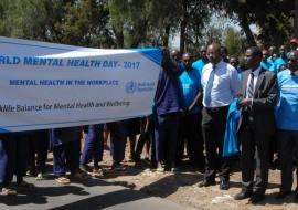 WR Kenya Dr Rudi Eggers, extreme right, with MOH colleagues during the launch of the World Mental Health Day in Kenya