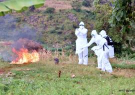 Burial  team burns the property of one of the deceased cases