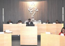 WHO Representative, Dr Charles Sagoe-Moses making his statement at the first City Council Meeting