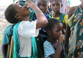 School children receive the oral cholera vaccine in Karonga.