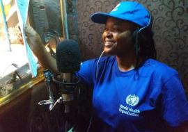 Fati Niger, Queen of Hausa music, rehearsing songs on cholera, meningitis and Lassa fever prevention in a recording studio in Maiduguri, Borno state. Photo credit: WHO/CE.Onuekwe