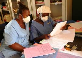 Health workers on duty at the TB Unit at the Lakka Government Hospital