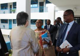 Dr Moeti interacting with UN Resident Coordinator in Ghana, Ms Christine Klock