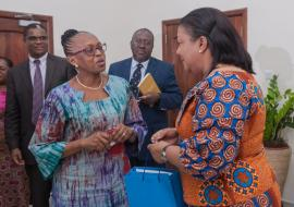 Dr Moeti interacting with the First Lady, Her Excellency Rebecca Akufo-Addo
