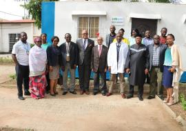 Group photograph WHO WR, Dr. Chikwe Ihekweazu, Dr Sule Ahmed Medical Director of the Maitama General Hospital
