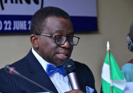 Minister of Health Professor Isaac Adewole delivering his speech during the ARCC.JPG