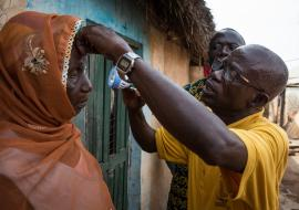 Fusi, an Opthalmic nurse screens communities in Yendi  Photo: Ruth McDowall/Sightsavers 2016