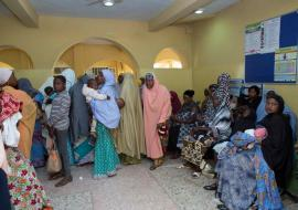 Women with eligible children queue up for routine immunization at health facility in Kaduna.