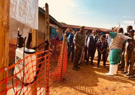 WHO Director-General Dr Tedros Adhanom and WHO Regional Director Dr Matshidiso Moeti visiting Ebola treatment centre in Mangina