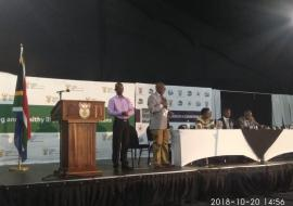 Dr Akpaka Kalu, WHO Representative to South Africa presents the Summary outcomes of the Presidential health Summit in presence of the Deputy President Mr David Mabuza and Health Minister- Dr Aaron Matsoaledi