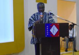 Dr Anthony Nsiah-Asare, Director General of the Ghana Health Service delivering the keynote address at the Launch