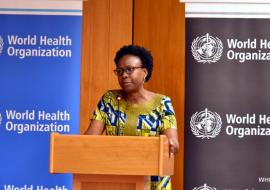 Minister of Health Dr Jane Ruth Aceng addresses the partners
