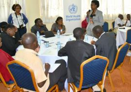 Minister of Health- Dr Jane Ruth Aceng addressing the journalists