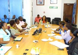 WHO COuntry Office staff receiving a briefing on the VfM concepts