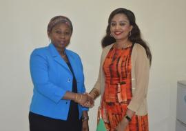 The Honorable Minister for Health, Ummy Mwalimu welcoming Dr. Tigest to Tanzania during a courtesy  meeting in Dodoma