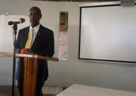 WHO Representative for Zimbabwe, Dr Alex Gasasira presenting his remarks at the stakeholders meeting
