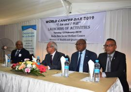 Dr B. Ori, Director Health Services, Dr Hon. A. Husnoo, Minister of Health and Quality of Life, Dr L. Musango, WHO Representative in Mauritius and the Lord Major of the Municipal Council of Port Louis, Mr Daniel Eric Clive Laurent attending the official launching of activities in the context of the World Cancer Day 2019