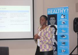 Dr Juliet Nabyonga from Inter- country Support Team for Eastern and Southern Africa making a presentation