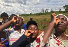 Villagers from Chimanimani taking the oral cholera vaccine