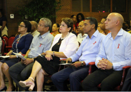 President Danny Faure, Health Minister Jean-Paul Adam and other dignitaries at the launching ceremony