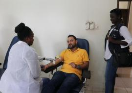 One of the several blood donors during the WBD