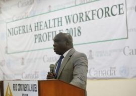 Dr Clement Peter (OiC) making in Speech at the Validation event