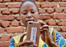 Léa Kanyere, a contact tracer, from Mabolio District of Beni, Democratic Republic of the Congo, is one of the first to be trained to use the Go.Data app.