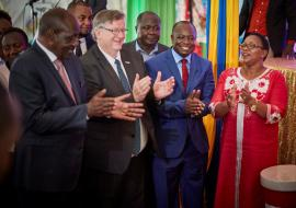 Cabinet Secretary Hon Sicily Kariuki, right, WR Dr Rudi Eggers join other dignitaries to celebrate malaria vaccine roll-ou