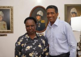 Seychelles WR Dr. Teniin Gakuruh with the Head of State HE Danny Faure at State House, Victoria, Seychelles